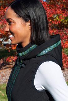WOMEN'S GLACIER VEST / (Softshell) /  Black, / Peacock Feathers (trim)