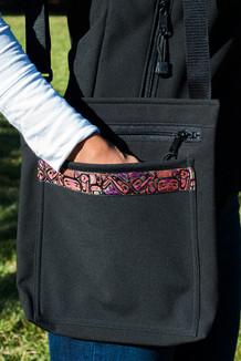SHOULDER BAG / (Softshell) /  Black,  / Totem-Orange (trim)