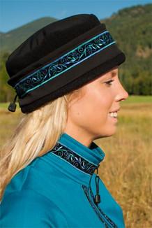 AURORA HAT / (Softshell) / Solid Black,  / Velvet-Blue (trim)