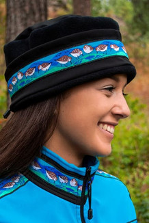 AURORA HAT / (Softshell) / Solid Black,  / Sandpipers-Teal (trim)