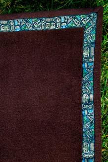 BLANKET - 5' x 5'  / (Double-Sided Thermal Fleece) / Dark Brown, / Totem-Tan (trim)