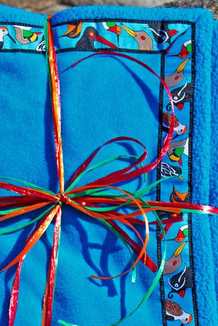 BLANKET - 5' x 5'  / (Double-Sided Thermal Fleece) / Summer Blue, / Alaska Chatter-Sky (trim)