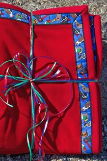 BLANKET - 5' x 5'  / (Double-Sided Thermal Fleece) / Red, / Alaska Chatter-Cobalt (trim)
