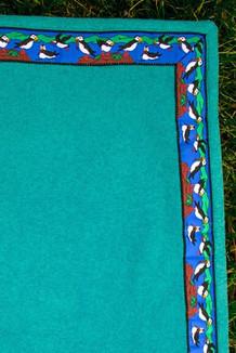 BLANKET - 5' x 5'  / (Double-Sided Thermal Fleece) / Beachglass, / Puffins-Brite (trim)