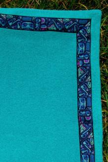 BLANKET - 5' x 5'  / (Double-Sided Thermal Fleece) / Beachglass, / Totem-Aqua (trim)