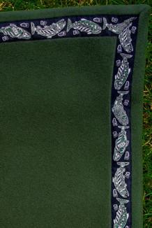 BLANKET - 5' x 5'  / (Double-Sided Thermal Fleece) / Bay Leaf, / Salmon-Green (trim)