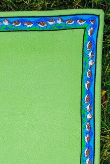 BLANKET - 5' x 5'  / (Double-Sided Thermal Fleece) / Meadow, / Sandpipers-Lime (trim)