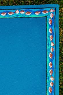 BLANKET - 5' x 5'  /  (Cobblestone-Textured Single-Sided Fleece) / Teal, / Sandpipers-Teal (trim)