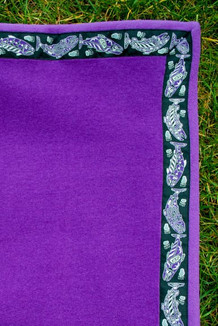 BLANKET - 5' x 5'  / (Double-Sided Thermal Fleece) / Amethyst, / Salmon-Purple (trim)