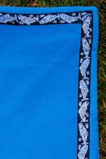 BLANKET - 5' x 5'  / (Double-Sided Thermal Fleece) / Midsummer Blue, / Salmon-Periwinkle (trim)