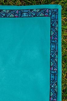 BLANKET - 5' x 5'  / (Double-Sided Thermal Fleece) / Turquoise, / Totem-Aqua (trim)
