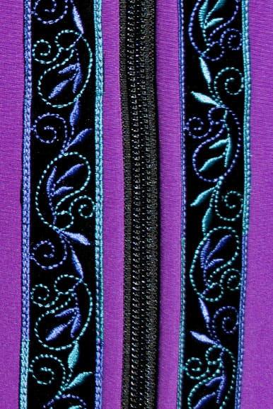 Close up view Razzleberry with Velvet-Lupine trim