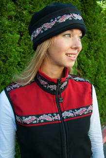 WOMEN'S KODIAK VEST / (Softshell) / Black, Garnet, / Salmon-Red (trim)