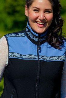 WOMEN'S KODIAK VEST / (Softshell) / Black, Twilight, / Salmon-Periwinkle (trim)