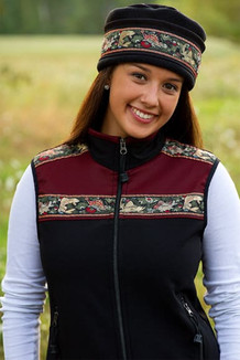 WOMEN'S KODIAK VEST / (Softshell) / Black, Mahogany, / Fancy Fish trim (gold metallic)