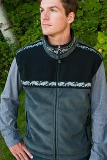 MEN'S KODIAK VEST / (Windblock Fleece) / Grey Hi-Loft, Black, / Salmon-Grey (trim)