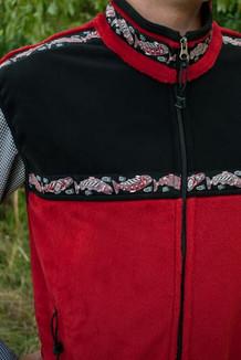 MEN'S KODIAK VEST / - SALE - CLOSEOUT - / (Windblock Fleece) / Red Hi-Loft, Black,  / Salmon-Red (trim)