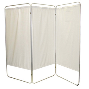 """King size 3-Panel Privacy Screen - White 6 mil vinyl, 85"""" W x 68"""" H extended, 31"""" W x 68"""" H x2.5"""" D folded (650121W)"""