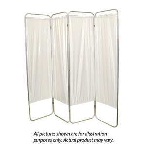 """King size 4-Panel Privacy Screen - White 6 mil vinyl, 113"""" W x 68"""" H extended, 31"""" W x 68"""" H x3.25"""" D folded (650122W)"""