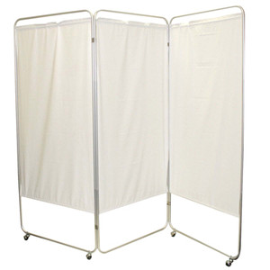 """King size 3-Panel Privacy Screen with casters - White 6 mil vinyl, 85"""" W x 68"""" H extended, 31"""" W x 68"""" H x2.5"""" D folded (650131W)"""