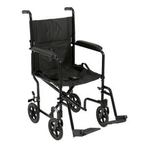 "Lightweight Transport Wheelchair, 17"" Seat, Black"