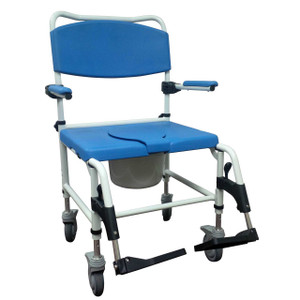 Aluminum Bariatric Rehab Shower Commode Chair with Two Rear-Locking Casters