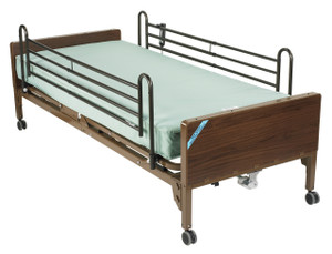 Delta Ultra Light Semi Electric Hospital Bed with Full Rails and Therapeutic Support Mattress