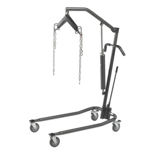 """Hydraulic Patient Lift with Six Point Cradle, 5"""" Casters, Silver Vein"""