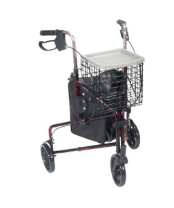 3 Wheel Rollator Rolling Walker with Basket Tray and Pouch, Flame Red