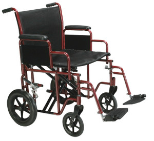 """Bariatric Heavy Duty Transport Wheelchair with Swing Away Footrest, 20"""" Seat, Red"""