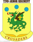 STICKER US ARMY UNIT 72nd Armor Regiment with text