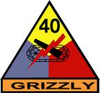 STICKER US ARMY UNIT 40th Armor Div. SHIELD COLOR
