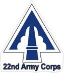 STICKER US ARMY UNIT  22ND CORPS SHIELD