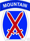 STICKER US ARMY UNIT  10TH MOUNTAIN DIV SHIELD COL