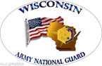 STICKER US Army National Guard US Wisconsin with Flag