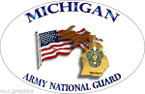STICKER US Army National Guard Michigan with Flag