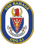 STICKER U.S. Navy USS Ramage DDG 61 Destroyer Emblem Crest
