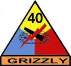 STICKER U S ARMY UNIT  40th Armor Div. SHIELD COLOR