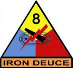 STICKER U S ARMY UNIT   8th Armor Div. SHIELD COLOR