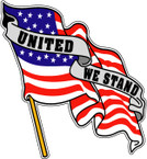 STICKER PATRIOTIC UNITED WE STAND AMERICAN US FLAG RIGHT
