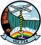 STICKER USN HU 734 HELICOPTER UTILITY DETACHMENT