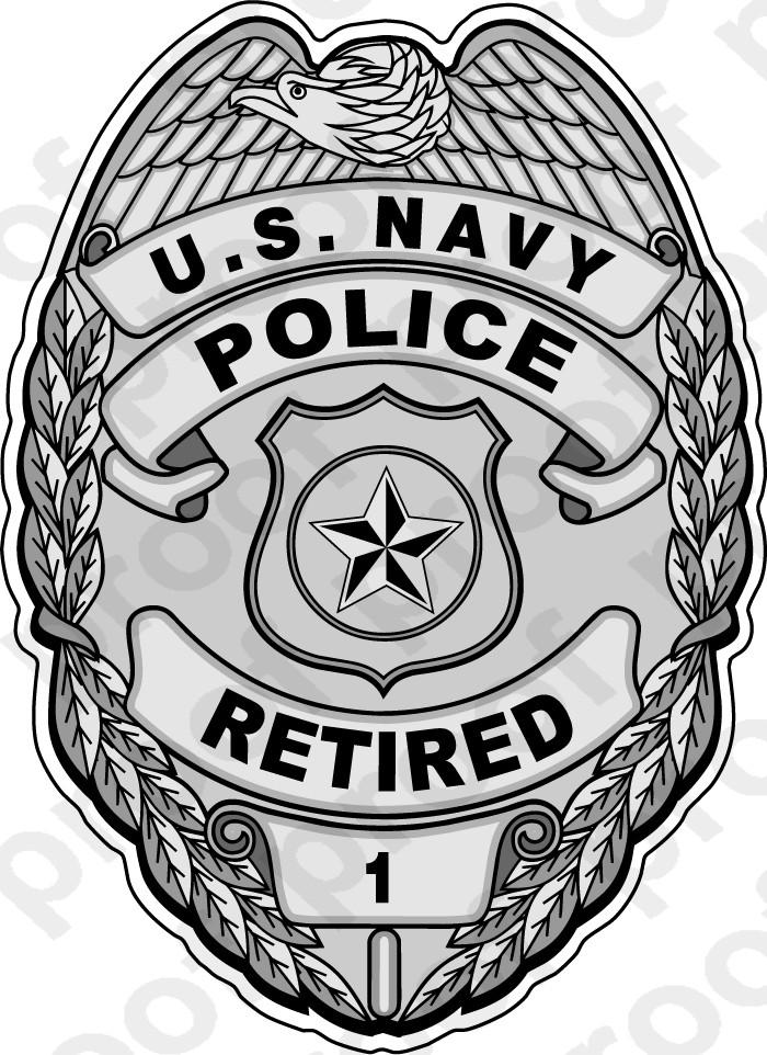 Sticker Usn Police Badge Silver Retired M C Graphic Decals