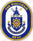 STICKER USN US NAVY BB 64 USS WISCONSIN BLUE