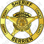 STICKER CIVIL BERRIEN COUNTY SHERIFF BADGE GOLD