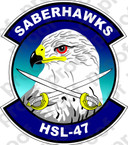 STICKER USN HSL 47 SABERHAWKS