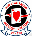 STICKER USN VF 194 FIGHTER SQUADRON RED LIGHTNING