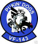 STICKER USN VF 143 FIGHTER SQUADRON PUKIN DOGS