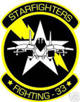 STICKER USN VF  33 FIGHTER SQUAD STARFIGHTERS