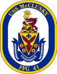 STICKER USN US NAVY FFG 41 USS McCLUSKY 4.5inP