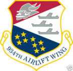 STICKER USAF 934TH AIRLIFT WING
